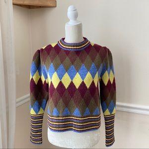 Zara Argyle Puff Shoulder Cropped Sweater L